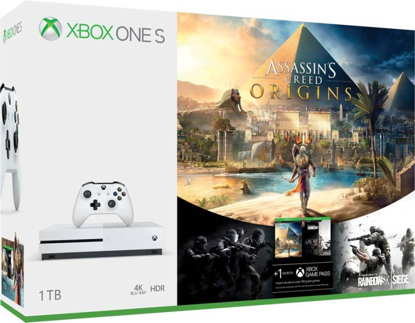 Microsoft Xbox One S 1 TB with Assassin's Creed Origins, Rainbow Six Siege